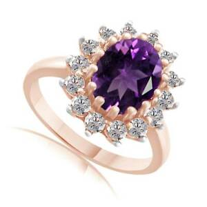 3.15 Ct Oval Amethyst & Zircon 18K Rose Gold Over Silver Cluster Band Ring