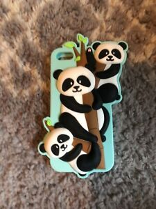 iphone 5 case, rubber silicon, mint green, pandas, in great condations