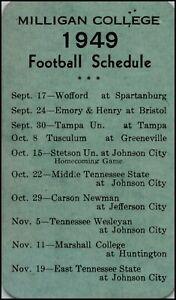1949 Milligan College Football Wallet Sized Pocket Schedule