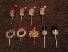 Vintage Santa Snowman Plastic Christmas Cupcake Toppers Picks Lot Of 9 Mixed
