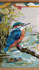 completed wool needlepoint tapestry picture-kingfisher