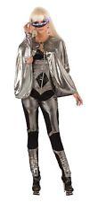 Shiny Silver Fantasy Cape Cloak Robe Fancy Dress Adult Superhero Halloween