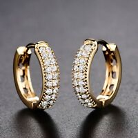 18K Yellow Gold Filled Swarovski Crystal New Look Party Stylish Hoop Earrings