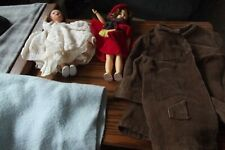 Vintage 2 Dolls And Clothes One Large Shirt And Blanket
