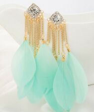 "New Feather Earrings Gold Light Mint Green Women 4""  Shoulder Dusters"