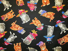 CATS IN HATS BOWS JEWELRY GLASSES CAT ROYAL WEDDING COTTON FABRIC FQ