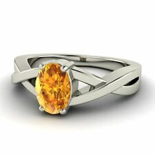 0.79 Ctw Oval Cut Solitaire Natural Citrine Engagement Ring in Sterling Jewelry