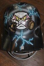 "FuN! Used Youth Batting Helmet! Custom Airbrushed Ball Eats Bat! Lightning ""DRE"""