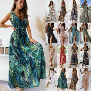 Womens V Neck Party Loose Plus size Boho Sundress Holiday Floral Maxi Dress