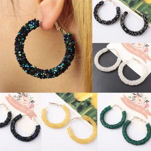New Women Elegant Hook Earrings Crystal Ear Stud Dangle Hoops Party Jewelry Gift