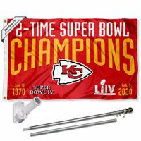 Kansas City Chiefs 2 Time Super Bowl Champions Flag Pole and Bracket Kit