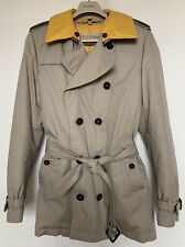 Burberry Brit Trench Coat In Stone Quilted Yellow Warmer Detachable Collar M