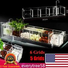 5/6 Grids Transparent Acrylic External Hang on Filter Box Aquarium Fish Tank HOT