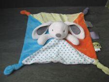doudou lapin blanc bleu orange vert étoile rayure obaibi