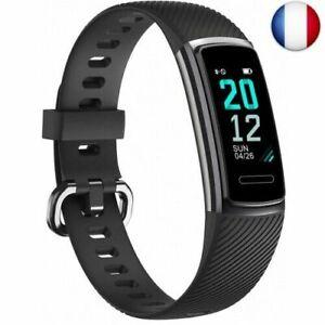 TOOBUR Montre Connectée Bracelet Connecté, Smartwatch Tracker d'Activit (Noir)