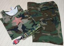 Button Fly Camo Pants Sequin Tank Top Blouse Canvas Belt Set SZ M Medium Outfit