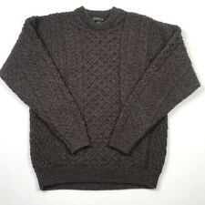 Orvis Mens Pullover Cable Knit Sweater Brown Crew Neck 100% Wool Ireland M
