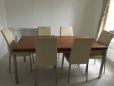 Six seater Bo Concept table and leather chairs