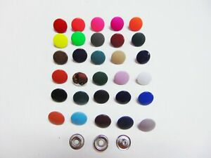 """Lot of 10 sets of Colored Metal Snaps Fasteners 15mm 5/8"""" - 36 colors to choose"""