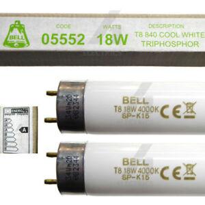 "2 x 18 Watt 2ft T8 Fluorescent Tube Cool White 600mm 18W 2ft 24"" Batten Bulbs"