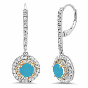 2.5 Round Halo Drop Dangle Turquoise 18k White Rose Gold Earrings Lever Back