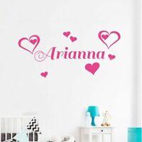 Custom Name Heart Wall Sticker Bedroom Kids Room Decor Girl Nursery Wall Decals