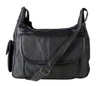 NEW Italian Leather Ladies Handbag Black Soft Leather Shoulder Bag 3747 black
