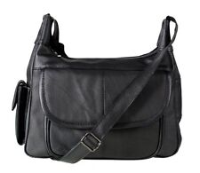NEW Italian Leather Ladies Handbag Black Soft Leather Shoulder Bag 3747 black