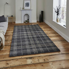 Think Rugs Wellness 6630 Tartan Check Rug Dark Grey W120cm X L170cm