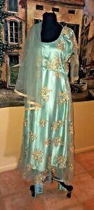 Fancy   Indian Pakistani Chiffon Dress 3pcs Party Wedding Blue Bollywood