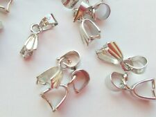 25 Pinch Bails 14mm Drop Pendant Necklace Jewellery Clasp Findings