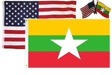 Wholesale Combo USA & Myanmar Burma 3x5 3'x5' Flag & Friendship Lapel Pin