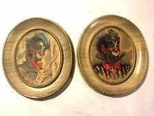 Vtg Pair (2) Oval Framed Clown Print Pictures Wall Art Bow Tie Top Hat Painter