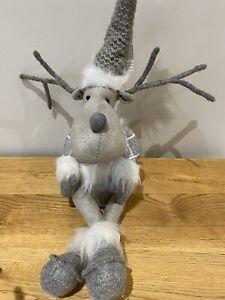 Sitting Cute Scandi Reindeers Christmas Decoration Xmas Grey Silver Nordic Gonk