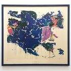 """SAM FRANCIS RARE 1972 ABST EXPR FRAMED LITHOGRAPH PRINT """"BLUE OUT OF WHITE"""" 1958"""