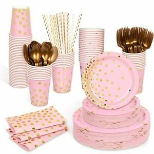 Decorlife Pink Party Plates Pink and Gold Party Supplies 400pcs Serves 50 Gol...
