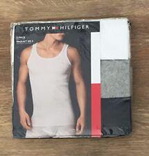 Tommy Hilfiger Mens L 3Pk Tank Top Ribbed Undershirt Sleeveless White Gray Blue