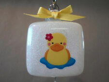 "Handmade ""Rubber Ducky"" 2"" Square Glass Christmas Ornament~Made In The USA, NEW!"