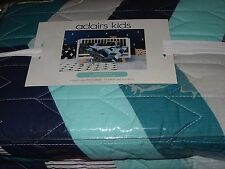 ADAIRS KIDS Brave Bear geometric COT (Jnr bed) QUILTED Quilt COVER SET BNiP teal