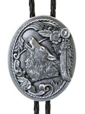 Men's Bolo Tie Wolf Head with Feathers with Black Leatherette - 18 inch hang