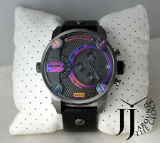 New Diesel Oversize Litter Daddy Multi Color Dial Black Leather Watch DZ7270
