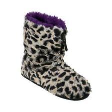 Women's Dearfoams Pile Boot Slipper with Zipper Grey Leopard size Small 5-6