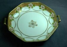 "Nippon Gold Trim 8 Sided Bowl/Dish Floral Pattern 6"" Diameter-2 handled"