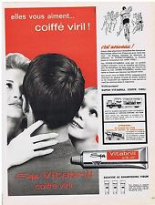 PUBLICITE ADVERTISING 114 1962 VITABRILL coiffe viril
