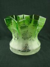 "VICTORIAN EMERALD GREEN BEAUTIFULLY ETCHED GLASS TULIP OIL LAMP SHADE 4"" FITTER"