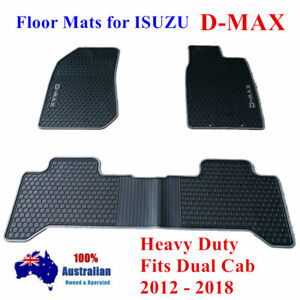 Waterproof Rubber Floor Mats Tailor Made ISUZU D-MAX DMAX 2012-2021 Grey Black