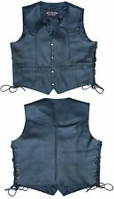 Motorbike Motorcycle Leather Waistcoat  / Vest With Lace BLACK 3166