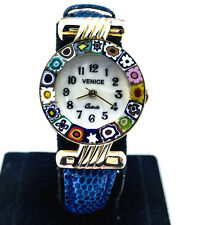 Authentic Original Murano Glass from Venice Millefiori Watch Blue Leather Band