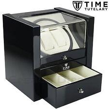 Time Tutelary KA018 Luxury Dual Watch Winder Black Gloss Finish With One Drawer