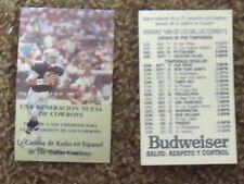 1990 Dallas Cowboys Troy Aikman cover (NFL) Budweiser Spanish card schedule